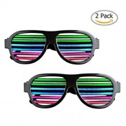 2 Pack Light up LED Glasses Sourcingbay Multi Color Sound & Music Flashing Light Rechargeable Eyeglasses with USB Charger for Kids and Adults in Disco