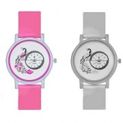 Peacock Pink And White Colour Round Dial Analog Watches Combo For Girls And Womens
