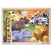 Melissa Doug African Plains Safari Wooden Jigsaw Puzzle with Storage Tray (24 pcs)