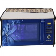 Glassiano Abstract Brown Printed Microwave Oven Cover for IFB 23 Litre Convection (23BC4 Black+Floral Design)