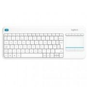 Клавиатура Logitech K400 PLUS, безжична, тъчпад, бяла, USB