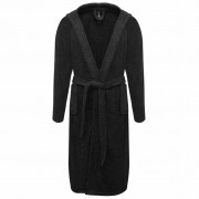 vidaXL Хавлиен халат за баня, унисекс, 100% памук, черен, размер L, 500 г/м²
