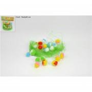 Decorazione di pasqua palline di peluche colorate con raffia 528538