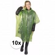 Geen 10x wegwerp regenponcho groen
