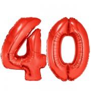 40-es piros szám fólia lufi
