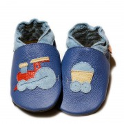 Pantofi cu talpa moale Liliputi Express Train Blue