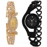 STAR gold And Black Colour Combo Analog Watch For Girls And Womens