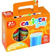 Tempera lavabila, pentru pictura cu mana, 6 culori x 80ml/set, CARIOCA Baby Finger Paint 2+