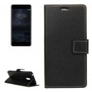 Para Nokia 6 Litchi Texture Horizontal Flip Funda De Ecocuero Con Soporte Y Ranuras Para Tarjetas Y Billetera Y Photo Frame (negro)