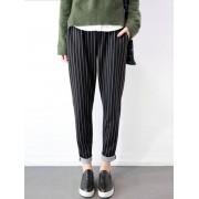 Meco M-5XL Casual Women Stripe Elastic Waist Pants