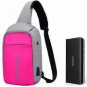 Baterie externa Romoss Solo 5 10000 mAh negru+mini-Rucsac antifurt roz cu port USB extern incarcare telefon