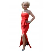 Rochie de seara lunga, culoare rosie, cu bretele detasabile (Marime: 38, Culoare: ROSU)