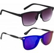 Flynn Rectangular, Wayfarer Sunglasses(Grey, Blue)