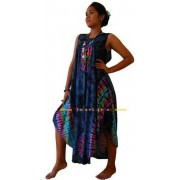 Stylish Beach Umbrella Dress-Ladies Dropped hem Holiday Tie dye Wear