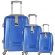 JUSTGLAM Set 3 valigie in abs leggero c/4 ruote royal