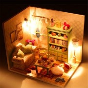 Hoomeda DIY Dream House Wood Dollhouse Miniature With LED+Furniture+Cover Room