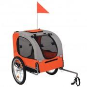 vidaXL Кучешко ремарке за велосипед, оранжево и сиво