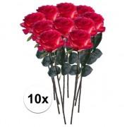 Bellatio flowers & plants 10x Rood/gele rozen Simone kunstbloemen 45 cm