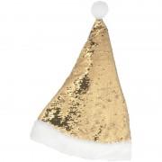 Geen Kerstmuts omkeerbare pailletten goud/wit 47 cm voor volwassenen