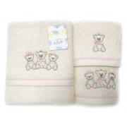 Set de 3 prosoape pentru copii Valentini Bianco Pink Bear
