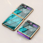 GKK Folding Painted Tempered Glass Phone Case for Samsung Galaxy Z Flip - Cyan Triangle