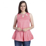 INSPIRE WORLD Women's 100 Pure Cotton Linen Satin Peplum Top In Coral Color With Skin Friendly Lining And Crystal Neck Line (IWT0022016S)