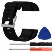 TPE okosóra szíj - FITBIT SURGE - FEKETE - S méret, 8,5cm + 10,5cm, a cseréhez szükséges eszközökkel!
