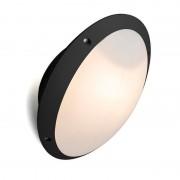 QAZQA Moderne ronde buitenwandlamp zwart met glas - Remi