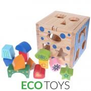 Set Joc Cub Educational de Sortare si Recunoastere Forme pentru Copii, Dimensiuni 15x15cm