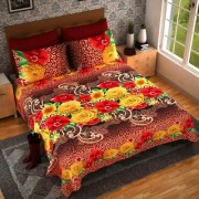 Luxmi Beautiful Mix flowers 3D Design Double Bed sheets With 2 Piilow covers - Multicolor