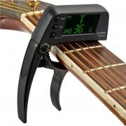 Professional Guitar Tuner Clip, Loftstyle Afinador Cromatico Pantalla LCD Pantalla Luz Giro Solo Guitar Capo (negro)