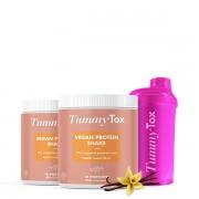 TummyTox 2xVegan Protein Shake + Shaker gratis - 19 g Protein & nur 106 kcal pro Shake! Vanille-Cookie. 400 g. Fettarm, zucker- und glutenfrei TummyTox