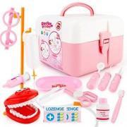 Qiyun Kitchen Pretend Play 17Pcs/set Doctor Series Pretend Play Set Children Simulation Dental Clinic Medical Kit Kids Educational Toycolour:Pink