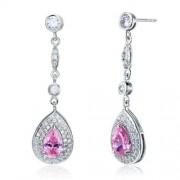 Ezüst fülbevaló, rózsaszín kristállyal - 925 ezüst ékszer