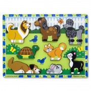 Melissa Doug puzzle lemn in relief animale de companie