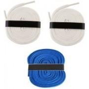 Fashion Gateway 36 Inch Sports Shoe Cotton SL12 Shoe Lace(White, White, Blue Set of 3)