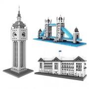 LOZ British Great Architecture Set Pack of 3 Buckingham Palace London Bridge Tower Big Ben Nano block Educational Toy 2980pcs