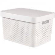 Curver Luxembourg S.a.r.l CURVER INFINITY Box mit Punktmuster, 17 Liter, Kunststoffbox für den Haushalt, Farbe: weiß