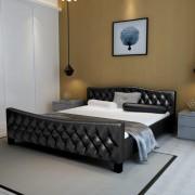 vidaXL Двойно легло с матрак от мемори пяна, черно, 180x200 cм