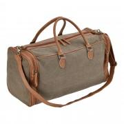 Corium® Чанта за пътуване, 27 x 54 x 23 см - спортна чанта (ръчен багаж) от еко кожа и лен - тъмносива/кафява