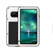 LOVE MEI Powerful Metal Defender Case for Samsung Galaxy S10 Dust-proof Shock-proof Splash-proof Cover - White