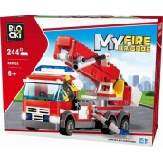 Joc constructie, My Fire Brigade, Camion pompieri cu macara, 244 piese Blocki