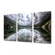Tablou Canvas Premium Peisaj Multicolor Nori oglinditi in apa de langa padure Decoratiuni Moderne pentru Casa 3 x 70 x 100 cm