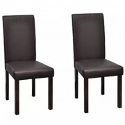 vidaXL 2 pcs Artificial Leather Wood Brown Dining Chair