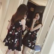 ER Women Sleeveless Dress A-Line Dress Round Neck Slim-cut Fashionable Printing-black