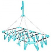 Right Traders Plastic Foldable Portable Hanging Dryer Clothes Drying Hanger Rack with 30 Clips