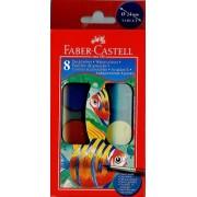 Acuarele 8 culori 24 mm + pensula Faber-Castell