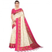 Indian Beauty Women's Pink Color Mysore Silk Printed Saree Border Tassels With Blouse Piece(WEDDING-ELEPHANT-PINK _Free Size)