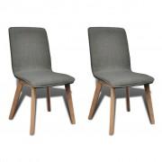 vidaXL Jídelní židle, 2 ks, dubový rám a textil, tmavě šedé