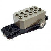 Parts/Elements - Motors Lego Parts: Pullback Motor 9 x 4 x 2 1/3 with Black Base - Dark Gray Top White Axle Holes Studs on Front Top Surface